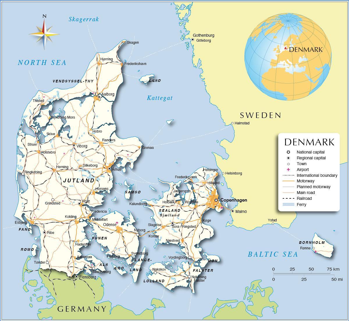 Denmark map - Map over denmark (Northern Europe - Europe) on