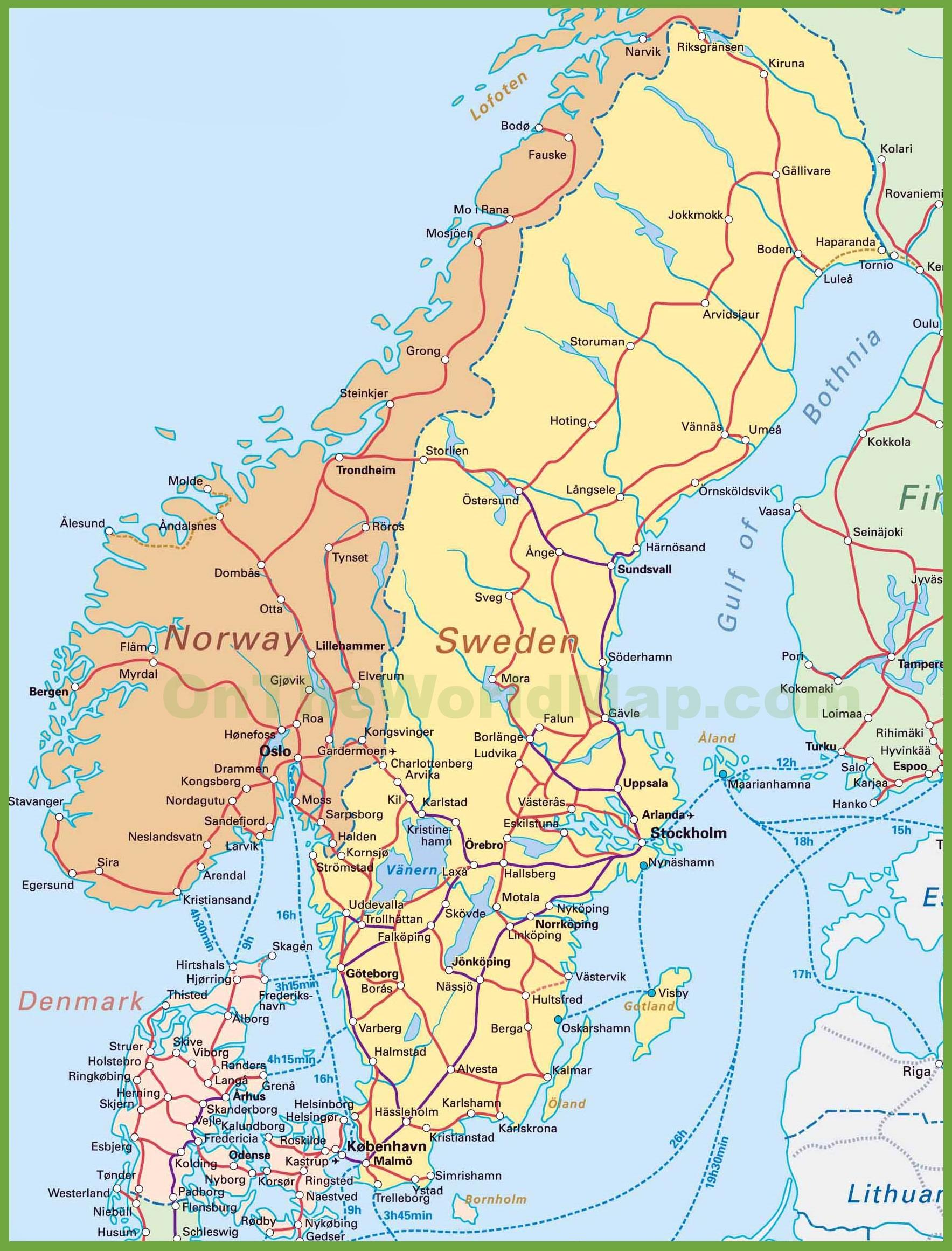 Norway denmark map - Map of denmark and norway (Northern Europe ...