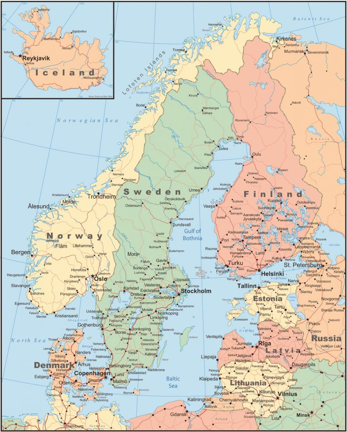 map of denmark and surrounding countries