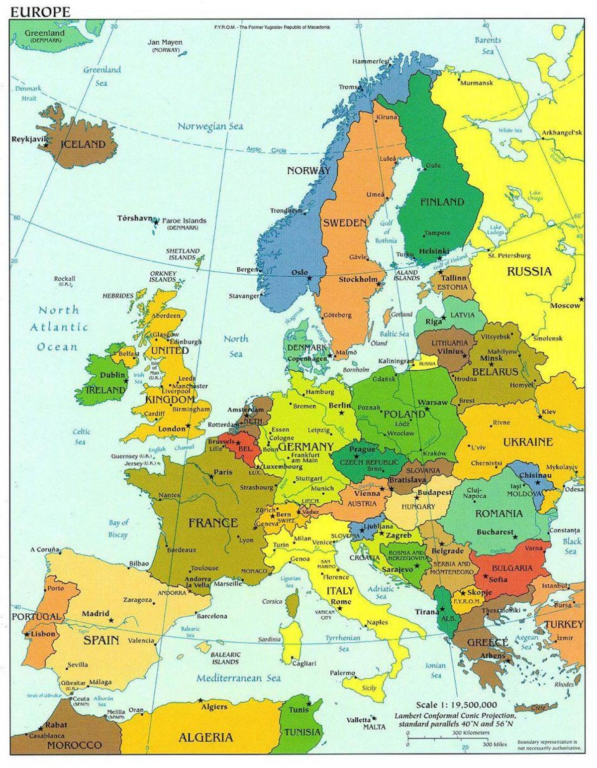 map of europe showing denmark