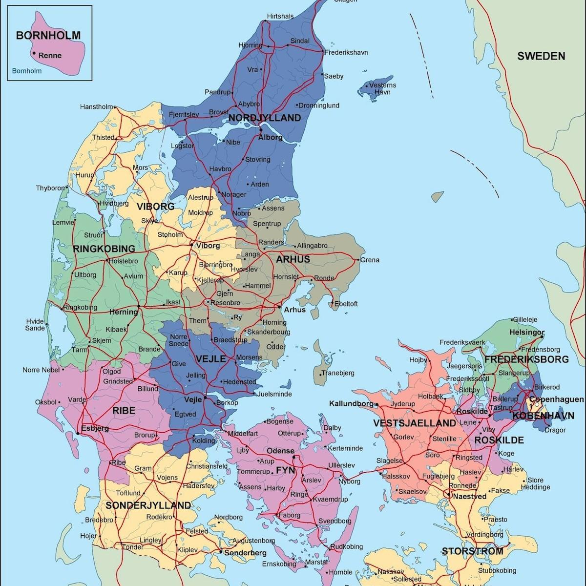 Denmark political map - Map of denmark political (Northern ...