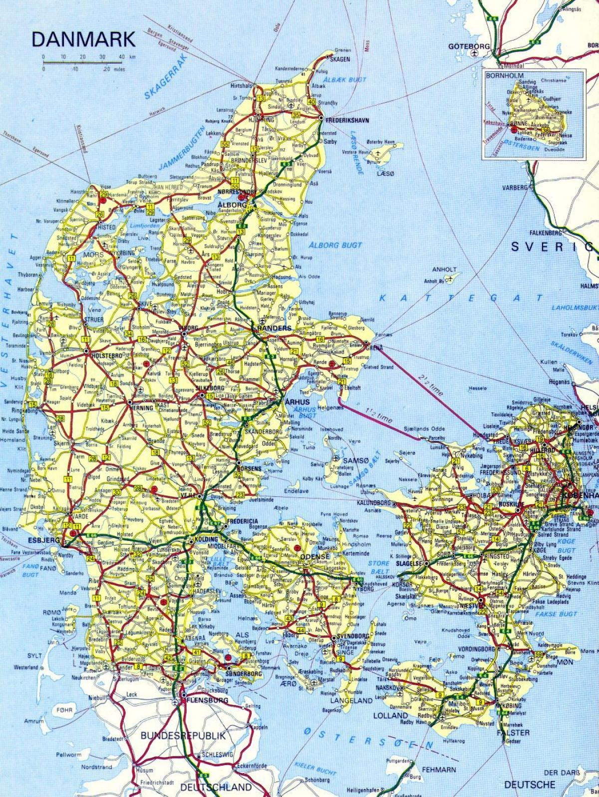 Road map of denmark - Map of road denmark (Northern Europe - Europe)